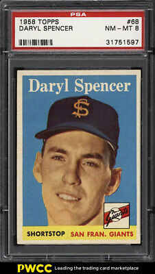 1958 Topps SETBREAK Daryl Spencer #68 PSA 8 NM-MT (PWCC)