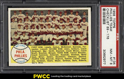 1958 Topps SETBREAK Phillies Team CHECKLIST #134 PSA 8 NM-MT (PWCC)