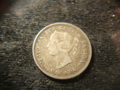 1889 VF Canada Five Cents Silver Nice Looking Coin ASBY