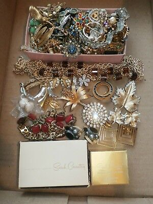Large Group Lot Vintage Antique Rhinestone Costume Jewelry Designer & Unmarked