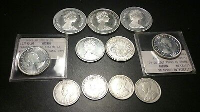 11 Canada Silver Coins Lot . 25 Cents,50 Cents And Dollars