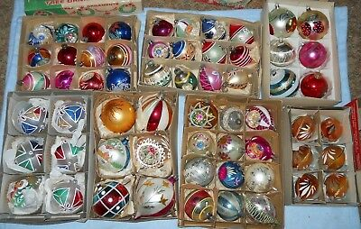 Lot 60 vintage Christmas ornaments INDENTS round teardrop POLAND Italy GERMANY