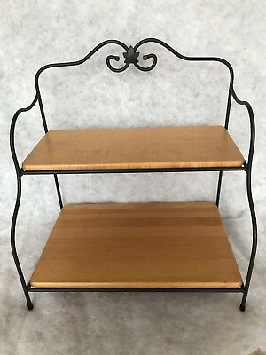 Longaberger Wrought Iron Small Baker's / Bakers Rack and 2 Woodcrafts Shelves