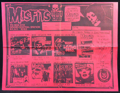 MISFITS 1983 Fiend Club Flyer Autographed Signed By GLENN DANZIG SAMHAIN Red