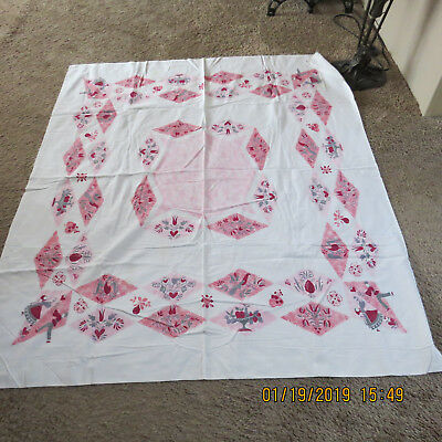 Vintage Mid Century 50s Printed Cotton Tablecloth/dutch print