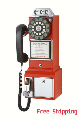 1950's Vintage PayPhone Coin Telephone Rotary Retro Classic Gift Red