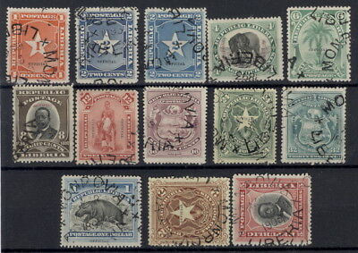 Liberia 1892, complete first OFFICIAL set of twelve, RR $$ #O1-12 Waterlow