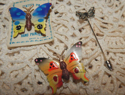 Vintage Lot of 3 ~Hand Painted Butterfly Scatter Pins and  Silver Tone Stick Pin