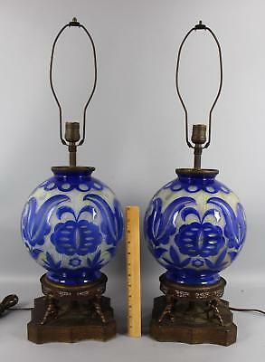 Large Antique Art Deco, French Cameo + Cut & Polish, Hand Blown Art Glass Lamps