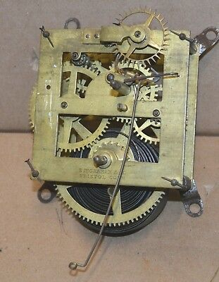 Antique E. Ingraham 8 Day Time Only Wall Regulator Clock Movement for Parts