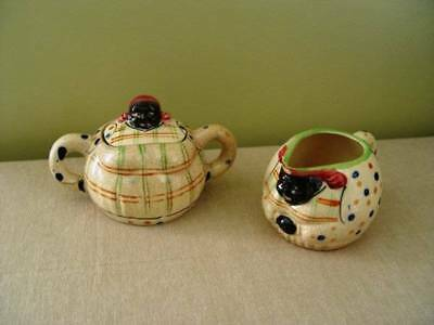 Vintage Black Americana Mammy Creamer and Covered Sugar Set Made in Japan