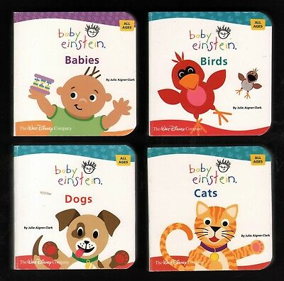 Baby Einstein: Lot of 4 NEW Miniature Board Books: Dogs, Cats, Babies, Birds