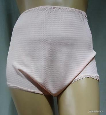 VINTAGE SILKY SOFT PEACH PATTERNED NYLON LOOSE LEG PANTIES~KNICKERS ~ Lg