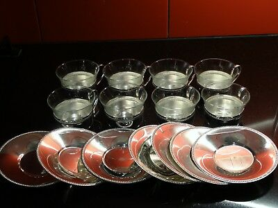 SILVER Coffee Cup Vintage Set of 8 Cups Saucers Silverplate Glass 1970s Antique