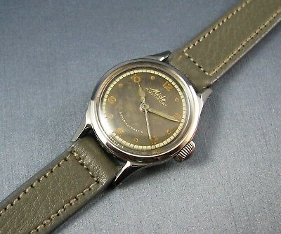 Rare Vintage Mido Military Style NURSE Automatic Watch Stainless Steel 17J 1950