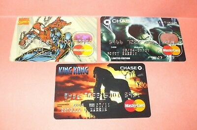 Exp. Mastercard Credit Card Lot - Spiderman, Hulk, King Kong