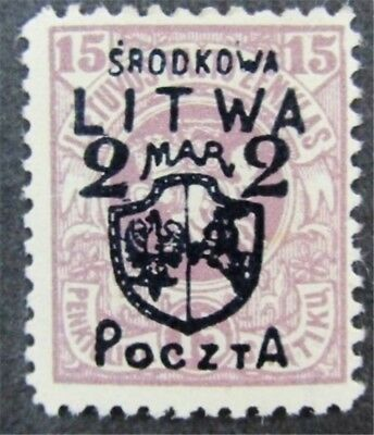 nystamps Russia Central Lithuania Stamp # 13 Mint OG H $48 Signed