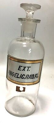 """Antique WT&CO  Apothecary Bottle -EXT. ANGELIC RAD.FL Label Under Glass-8 1/2"""""""