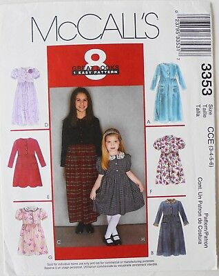 McCalls 3353 Girls 8 Great Looks Dresses Sewing Pattern 3-4-5-6