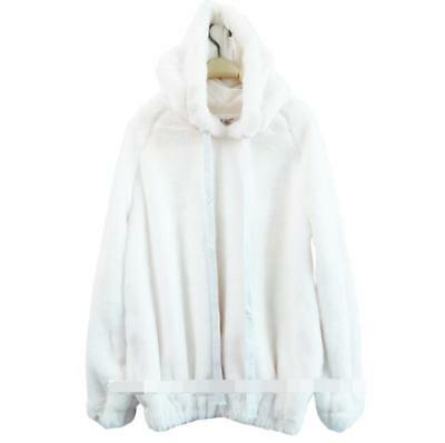 Womens Girls Blouse Sweet Rabbit Fur Hooded Warm Solid Casual Loose Fur Pullover