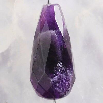 Y73963 25x12 Faceted Natural Amethyst Column Pendant Bead