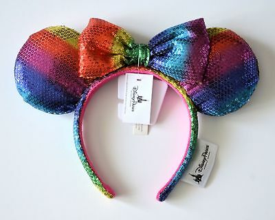 Disney Parks Rainbow Minnie Mouse Sequin Ears Headband New With Tags Ships FREE