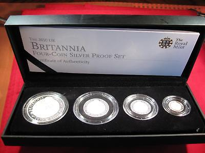 2010 UK Britannia Four-Coin Silver Proof Set w/ BOX & COA - ONLY 3,500 ISSUED