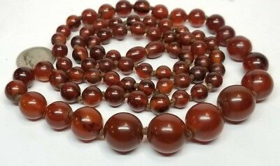 Vintage Art Deco Marbled Cherry Amber Bakelite Graduated Bead Necklace 41g
