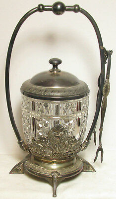 Awesome Antique Reed & Barton Pickle Castor With Fork - Silverplate !!!