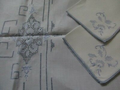 Vintage Madeira Linen Tablecloth and 4 Napkins - Blue Embroidery and Pulled Work