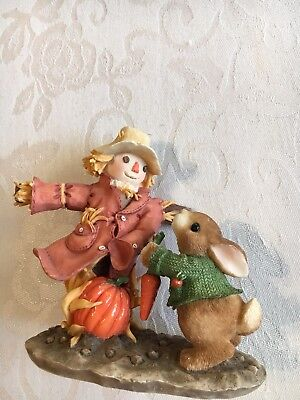 """1997 My Blushing Bunnies~""""Harvesting Many Blessings"""" Bunny Rabbit Fall Scarecrow"""