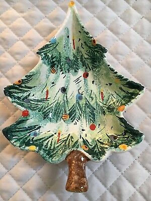 Vintage Italy Hand Painted Christmas Tree Candy Dish Art Pottery *Numbered