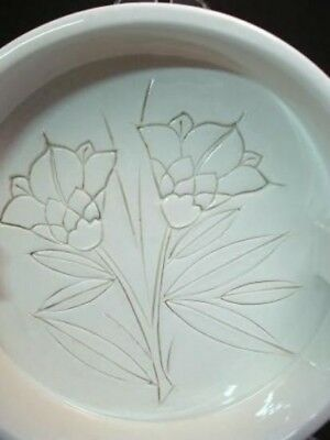 White Art Pottery Ash Tray Cut Flower Design Vintage Made in Italy Mid Century