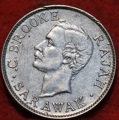 1910-H Sarawak 10 Cents Silver Foreign Coin
