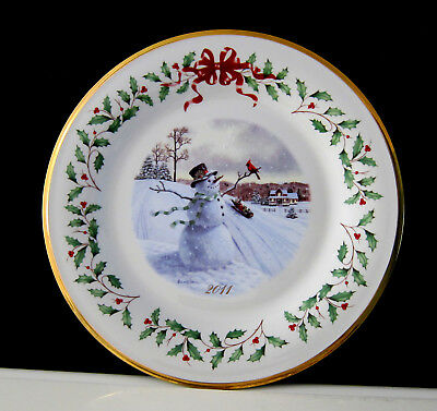 Lenox The Annual Snowman Collector Plate 2011 Tewenty First In Series