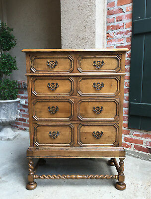 Antique English Carved Oak Chest of Drawers BARLEY TWIST Bleached Brass Cabinet