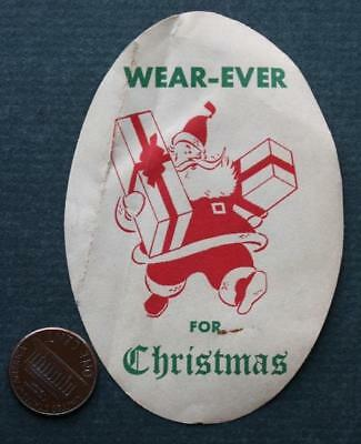 1950s Oberlin,Ohio aluminum cookware Santa Claus-Christmas VINTAGE oval decal!*