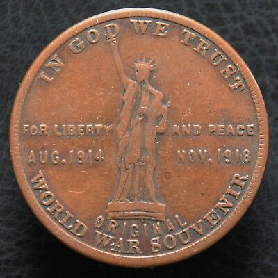 1918 World War I Peace Medal, Statue of Liberty - So-Called Dollar HK-900