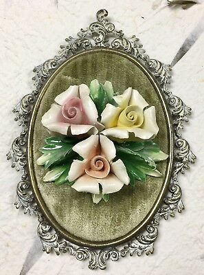 Vintage 3D CAPODIMONTE Italian Porcelain Framed Wall Hanging