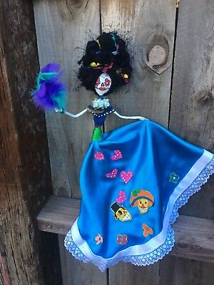 day of the dead paper mache skeleton doll handmade colorful unique