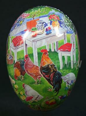 """Large 6"""" German Paper Mache Easter Egg Pictorial Chickens By A Garden Table"""