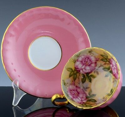 GORGEOUS VINTAGE AYNSLEY FINE BONE CHINA TEA CUP & SAUCER w LARGE PINK ROSES N/R