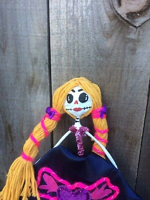 day of the dead paper mache skeleton doll recycled materials colorful happy uniq