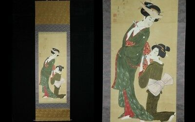 "Jan026 Japanese Antique Hanging Scroll""beauty"" Ukiyoe Hand Painted Signed"
