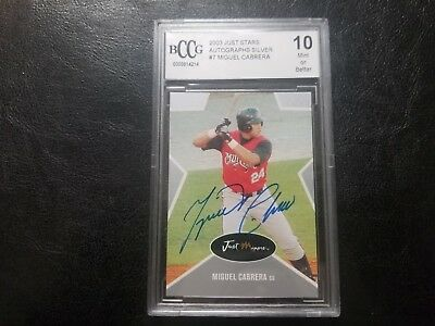 2003 Just Stars Miguel Cabrera BECKETT 10 MINT RC Signed Auto TIGERS AUTOGRAPH