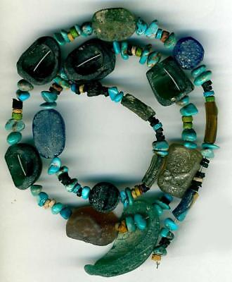 Roman Ancient Glass Beads Curved Shapes ~Centuries Old~Authentic Encrusted 19""