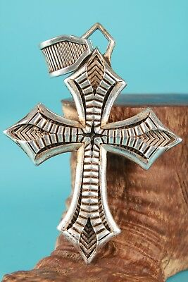 Unique Chinese Tibetan Silver Pendant Cross Exorcist Mascot Collection Gift