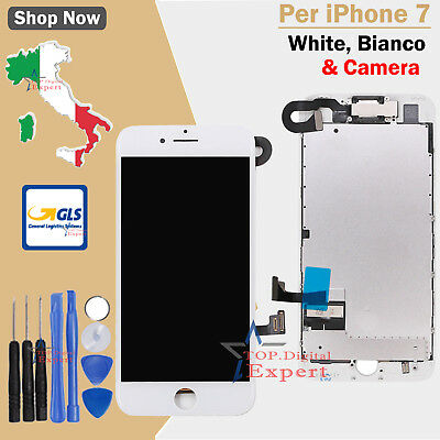 Bianco DISPLAY LCD Touch Screen IPhone 7 COMPLETO Fotocamera Altoparlante Frame