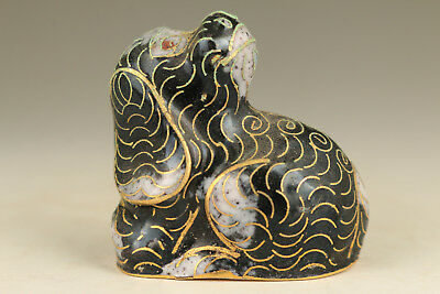 Chinese Old Cloisonne Hand Carved dog Figure Statue Noble Gift