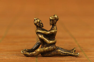 rare copper Old Handmade Carved sexual culture girl Statue netsuke pendant Art